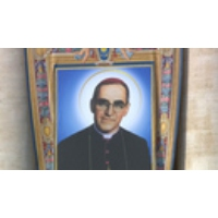 """Logo of the podcast """"Assassination of a Saint"""": Salvadoran Archbishop Oscar Romero Is Canonized as Murder Remains Unsol…"""