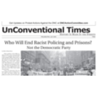 "Logo of the podcast ""UnConventional Times"": Activists at DNC Publish Independent Newspaper to Cover Protests, Walkouts"