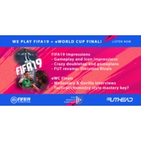 Logo of the podcast We play FIFA19 + eWorld Cup Finals