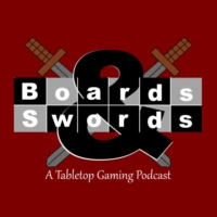 Logo of the podcast Eldritch Horror, Munchkin Treasure Hunt, Custom Inserts - Boards & Swords #29