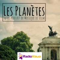 "Logo of the podcast ""Plus haut, plus loin"" (Les Planètes #4)"