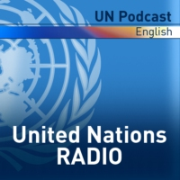 Logo of the podcast UN Global Perspective: focus on Syria's civilians, HIV-AIDS and space-based information