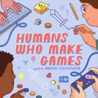 Logo of the podcast Humans Who Make Games with Adam Conover