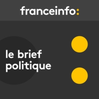 "Logo of the podcast Le brief politique. Marine Le Pen décrite comme ""groggy"" et ""en roue libre"" par un responsable du FN"