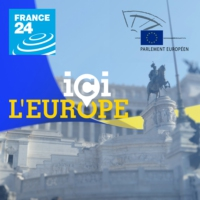 "Logo du podcast ""L'Ukraine souffre beaucoup de l'agression russe"""
