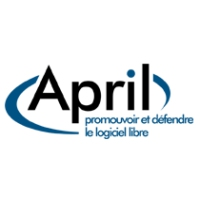 Logo of the podcast Revue de presse de l'April, semaine 46, année 2015
