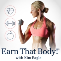 "Logo of the podcast ""Earn That Body"" with Kim Eagle"