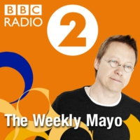 Logo of the podcast Mayo: Art Garfunkel, actor Brian Cox and Asparagus.