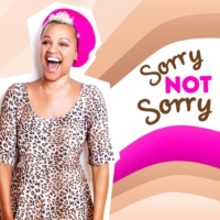 Logo of the podcast Sorry, Not Sorry with Gemma Cairney and Shaun a.k.a Travel Mad Dad