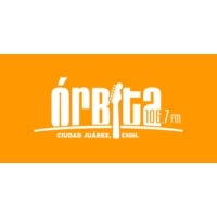 Logo of radio station XHUAR Órbita 106.7 FM