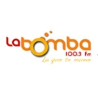 Logo of radio station La Bomba 100.3 FM