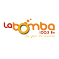 Logo of radio station La Bomba 100.3 FM