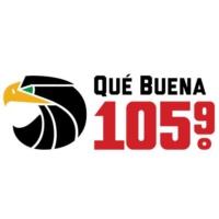 Logo de la radio KHOT-FM Qué Buena 105.9 FM