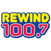 Logo of radio station KYMV Rewind 100.7