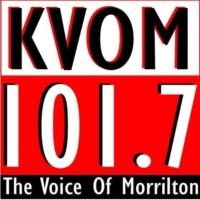Logo of radio station KVOM-AM