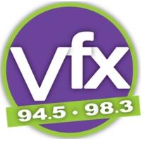 Logo of radio station KVFX Utah's VFX 94.5 & 98.3