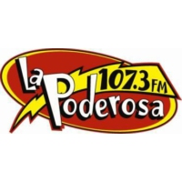 Logo of radio station La Poderosa 107.7 fm