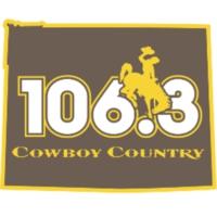 Logo of radio station KAZY 106.3 Cowboy Country