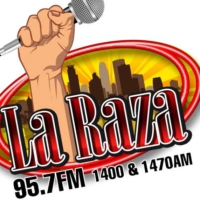 Logo of radio station KMNQ La Raza 95.7 FM